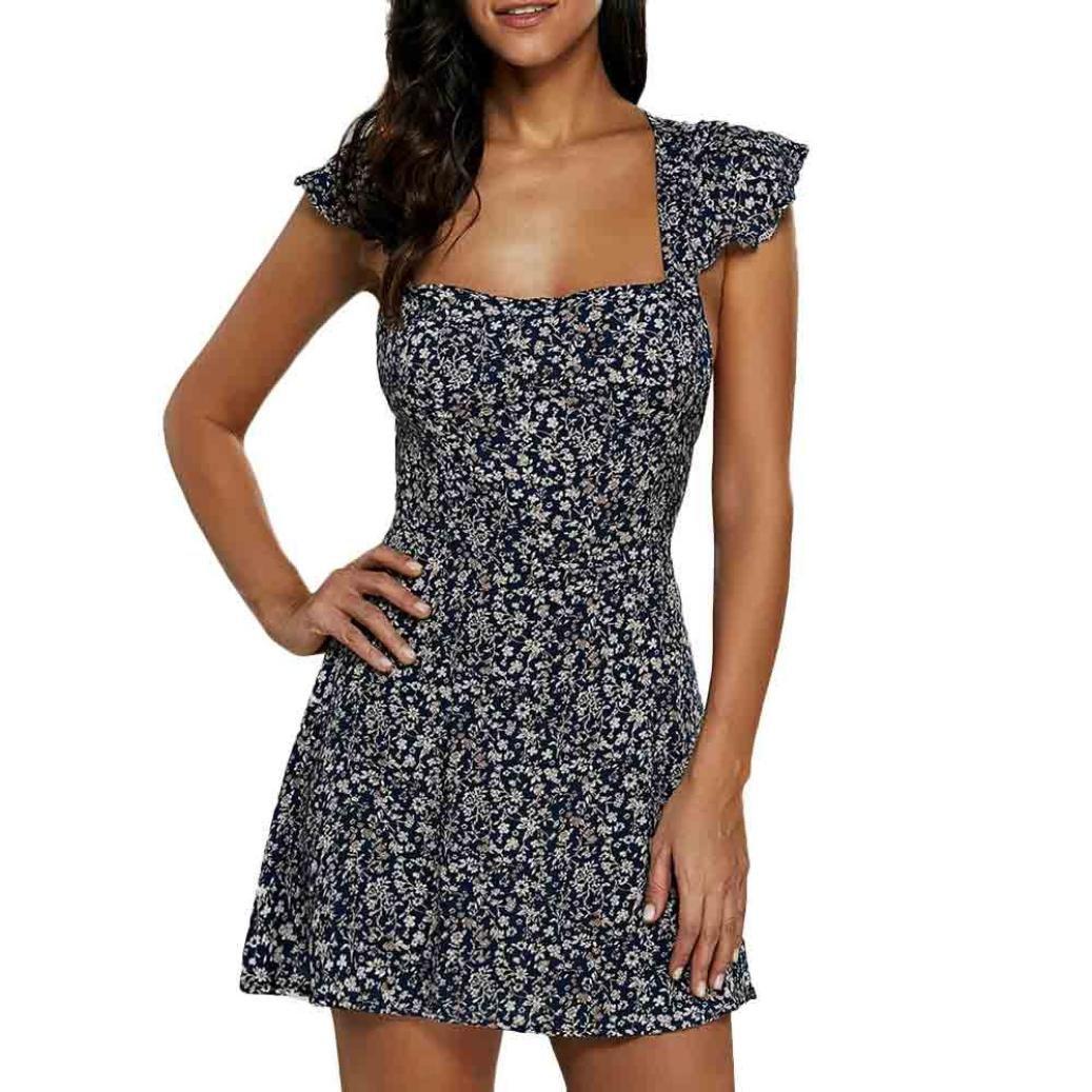 Hot Sale!!! Women Sexy Tube Top Floral Print Dress, Balakie Ladies Camisole Sleeveless Mini Dresses (XL, Blue) by Balakie-Dress