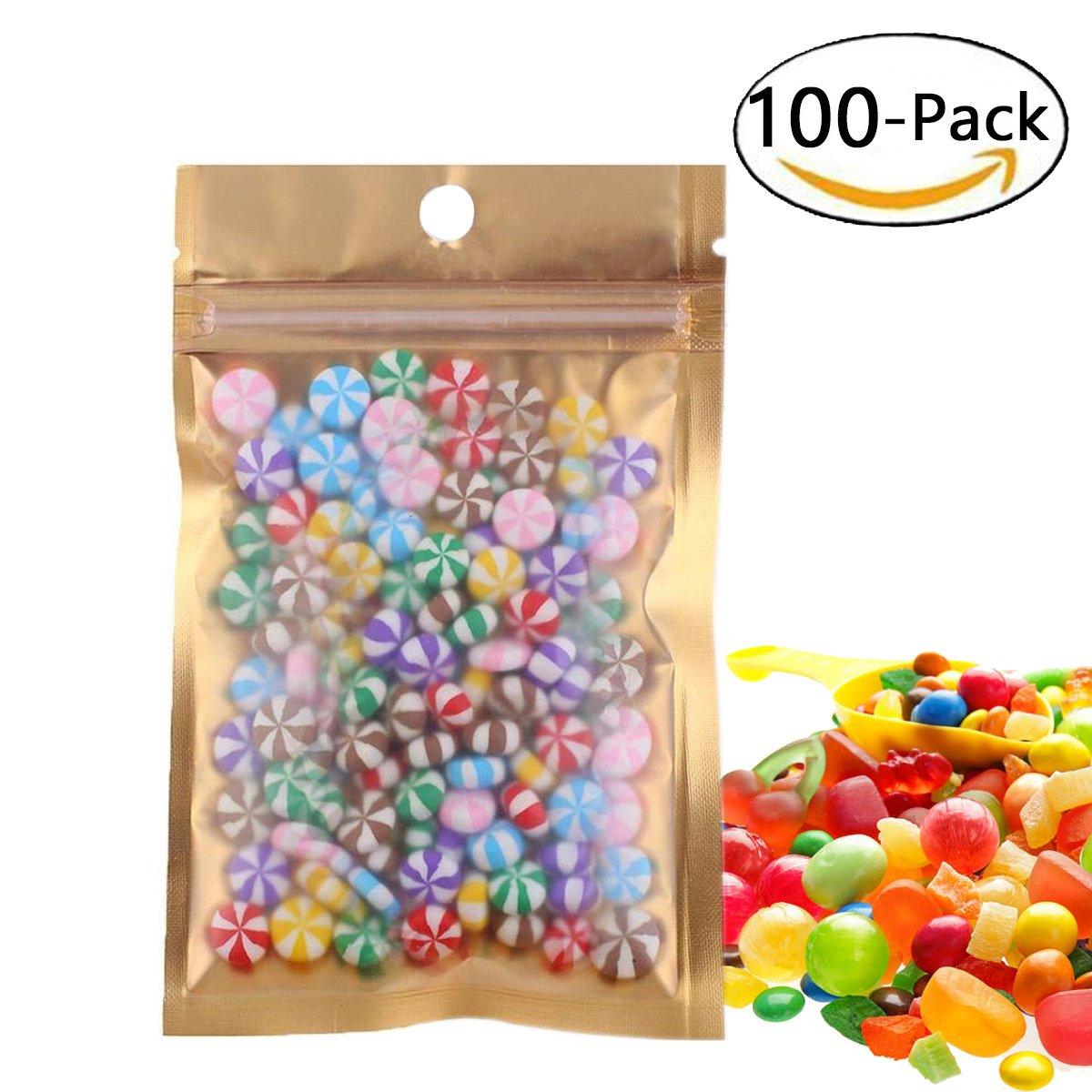 Wekoil Mylar Bags Zip Lock Clear Golden Front Aluminum Foil Wrapper Bags Resealable Packaging Storing Zipper Pouches Bulk Food Saver Lined Grip Wrap 10cmx18cm/4''x7'',PACK 100 Bags.
