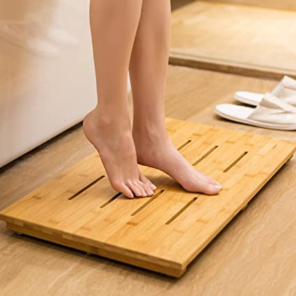 Bamboo Bath Mat Non Slip Shower Mat Bathroom Rugs Perfect For Indoor Or  Outdoor,