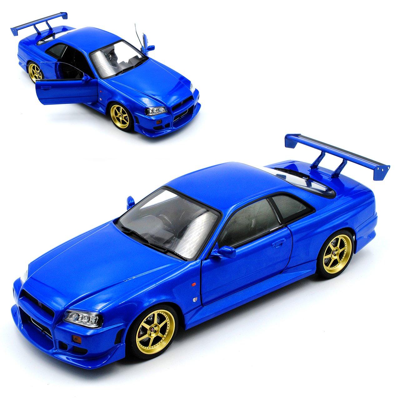 Grünlight Nissan Skyline R34 GT-R Blau 1998-2002 1/18 Modell Auto mit individiuellem Wunschkennzeichen