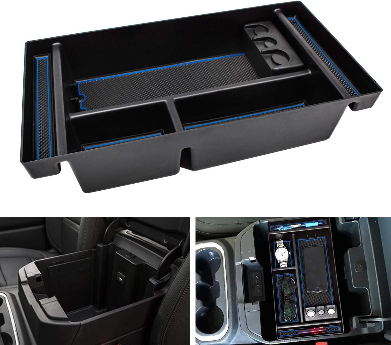 SENSHINE Center Console Organizer Tray for Chevy Silverado 1500 GMC Sierra 1500 (2019-2021) and Chevy Silverado GMC Sierra 2500 3500 HD (2020 2021) (Blue Trim, Full Console w/Bucket Seats ONLY)