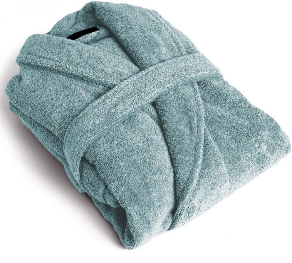 Albornoz Unisex 100/% Algod/ón con Cuello Tipo Smoking para Hombre y Mujer Talla L, Verde