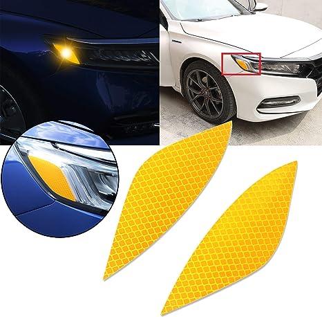 Xotic Tech for Honda Accord 2018 2019 Front Fog Light DRL Overlay Vinyl Decal Tint 2pcs Yellow PVC Film Sticker Trim Wrap Overlay Sheet Decal