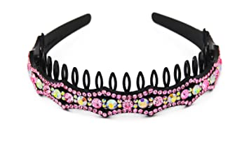 Amazon.com   Yeshan Rhinestone and Crystal beaded Plastic Teeth Comb  Hairband Hair hoop Headband for Girls d9ea7e14996