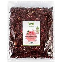 NaturaForte 1000 g Hibiskus-Blüten 1a Premiumqualität, Ganze luftgetrocknete Blüten für Hibiskus-Tee im Aroma-Beutel, Ohne künstliche Farbstoffe, Aromen oder Zusätze, Ungeschwefelt für Tee-Kenner