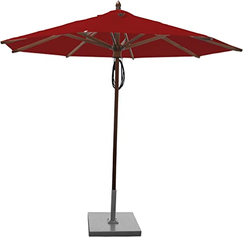 Greencorner Mahogany Octagon Patio Umbrella 9 Foot, Jockey Red