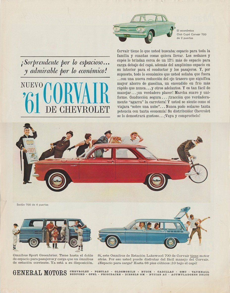 1961 CHEVROLET CORVAIR 700 SEDAN, CLUB CUPE, LAKEWOOD 700 Omnibus de Estacion & OMNIBUS SPORT GREENBRIER