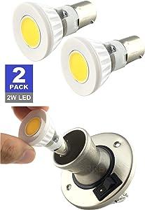 SRRB Direct 1139/1383 LED Replacement R12 BA15s Bulb 12V or 24V AC/DC for RV Camper Trailer Motorhome 5th Wheel Marine Boat Reading Light (2 Watt, Natural White)