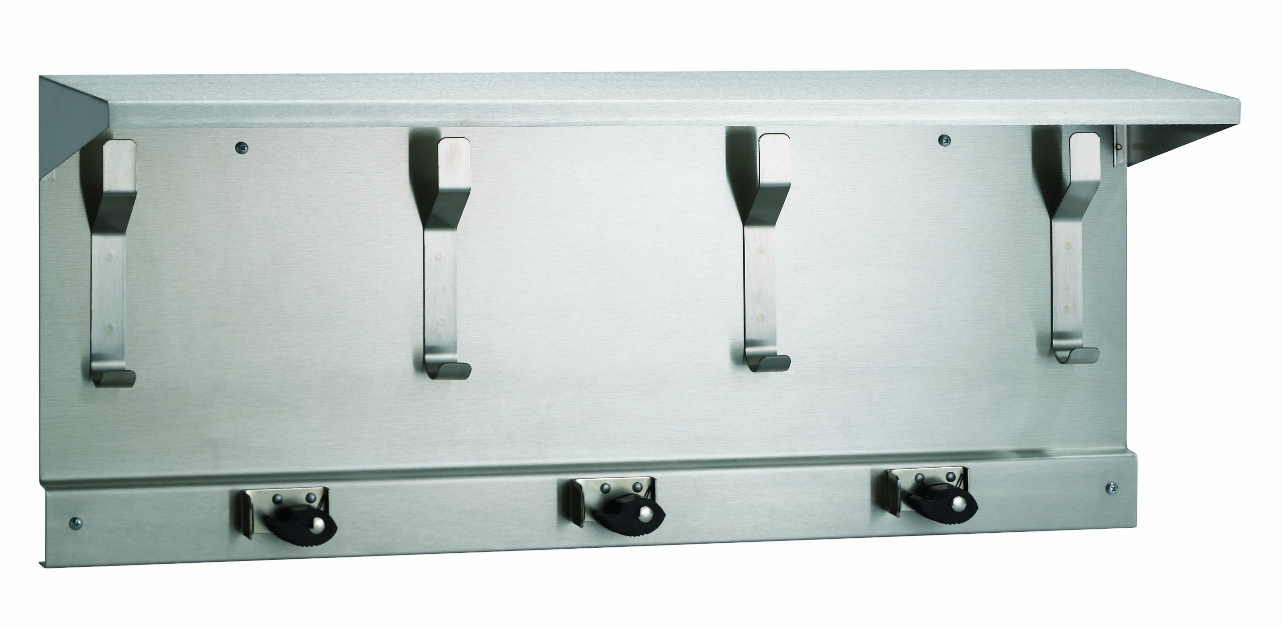 Bradley 9933-000000 Stainless Steel Utility Shelf with Mop and Broom Holder, 34'' Width x 14'' Height x 8'' Depth