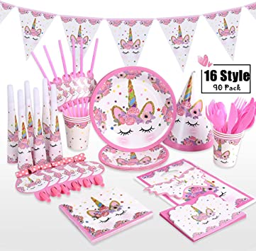 Amazon.com: Suministros para fiestas de unicornio – XREXS 16 ...
