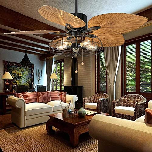 52-Inch Tropical Fan Light Industrial Cage Ceiling Fan with Light 5 Lights Remote Control Indoor Chandelier Fan Light 5 Palm Blades Vintage Quiet Fan Light, Black Finish