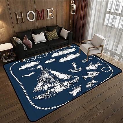 Amazon.com: Bedroom Rugs,Navy Blue Decor, Sea Themed Hand ...