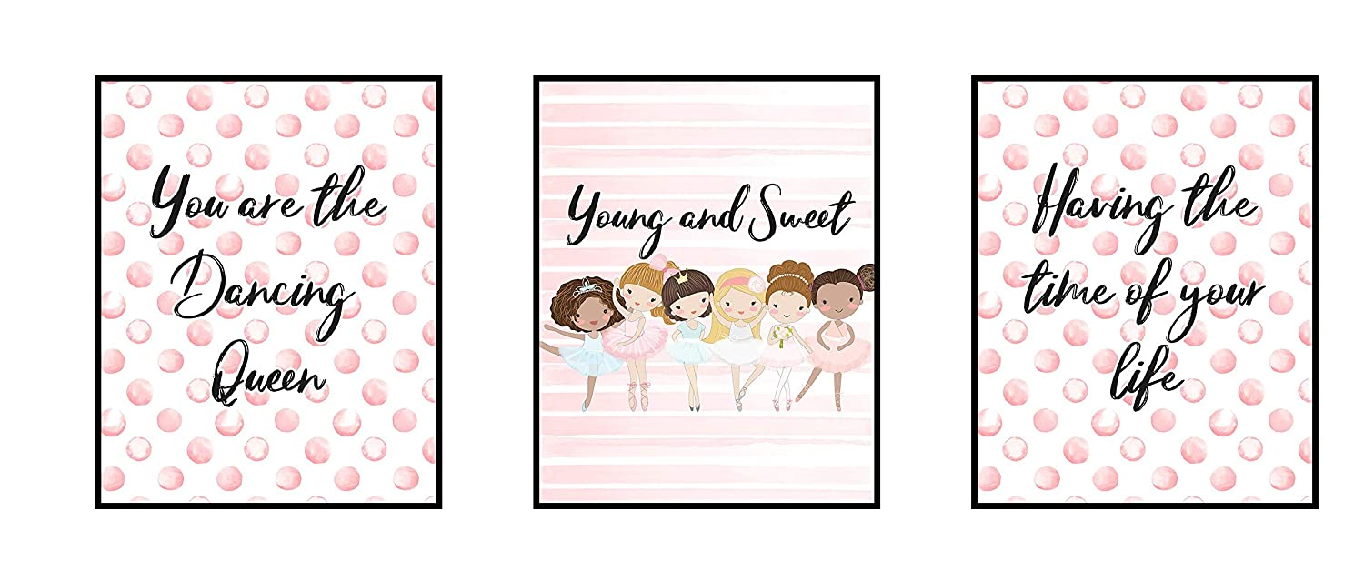 Silly Goose Gifts Dancing Queen Ballet Dance Themed Wall Art Decor Prints (Set of Three)