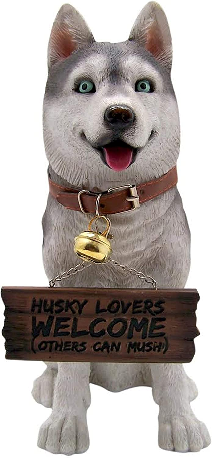 Wowser Husky Dog Statue for Garden, Porch, Patio Decor with Reversible Welcome Sign, Gift for Huskey Owners, 13 Inch