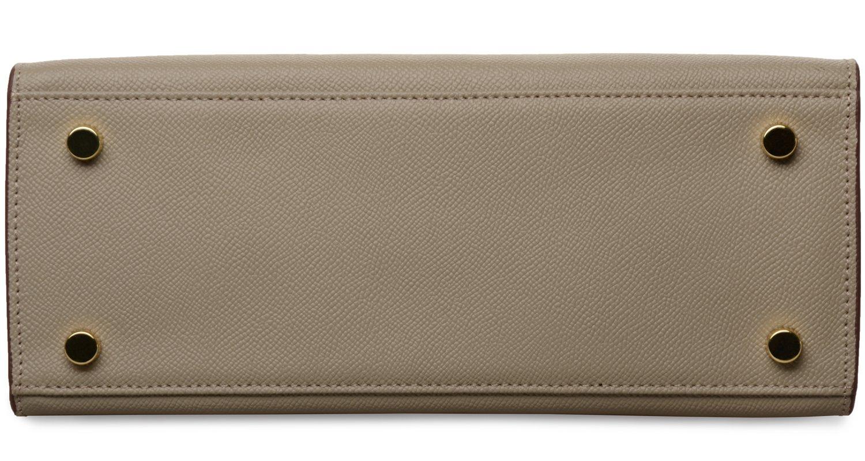 Women's Padlock Handbag Genuine Leather Taiga Top Handle Satchel Bag Cherish Kiss(28CM, Taupe) by Cherish Kiss (Image #5)