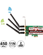 Ubit Dual Band 450Mbps Wireless PCI-E Express Card WiFi Network Adapter Card Support Dual Band(2.4GHz 450Mbps or 5GHz 450Mbps) with 3PCS Antenna for Win7/Win8/Win10