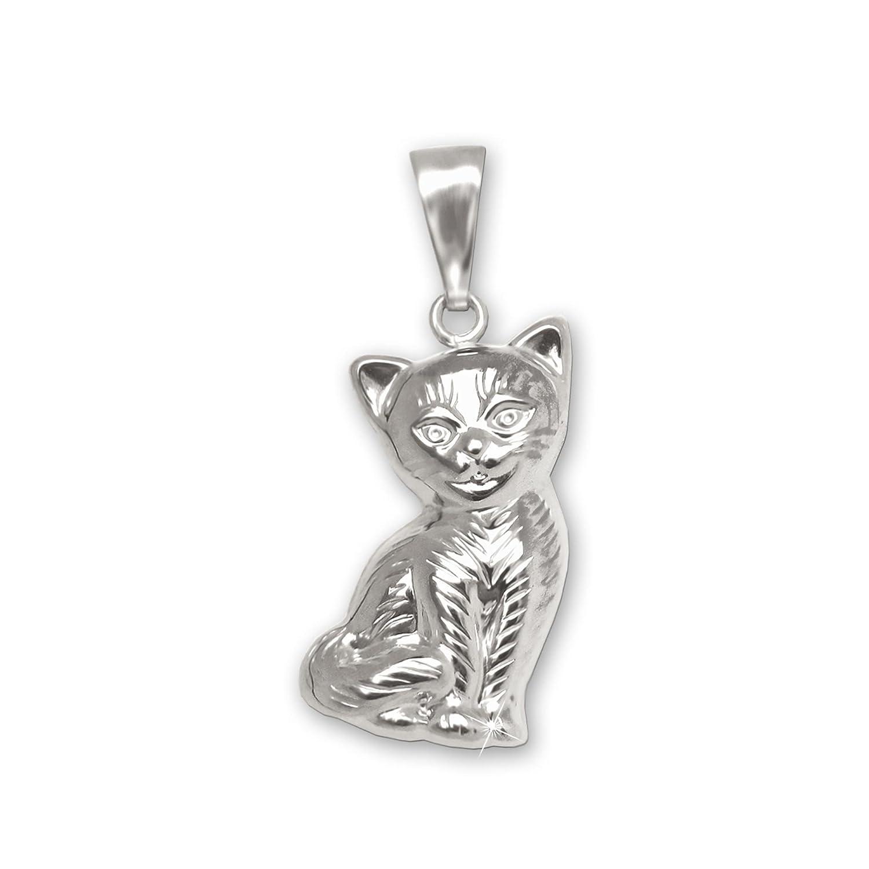 CLEVER SCHMUCK Silberner Anhänger Katze 15 mm sitzend beidseitig plastische Form mit Fell gestrichelt und glänzend STERLING SILBER 925 ahs6569fell