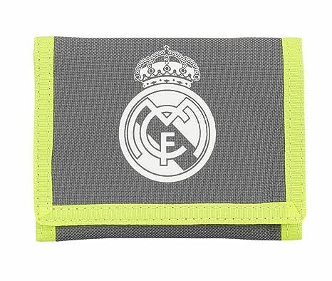 Real Madrid Cartera de Nailon Velcro en una elección de diseños y Colores, Grey & Lime