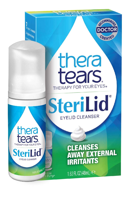 TheraTears Sterilid Eyelid Cleanser, Lid Scrub for Eyes and Eyelashes, Contains Tea Tree Oil, 48 mL, 1.62 Fl oz Foam Pump
