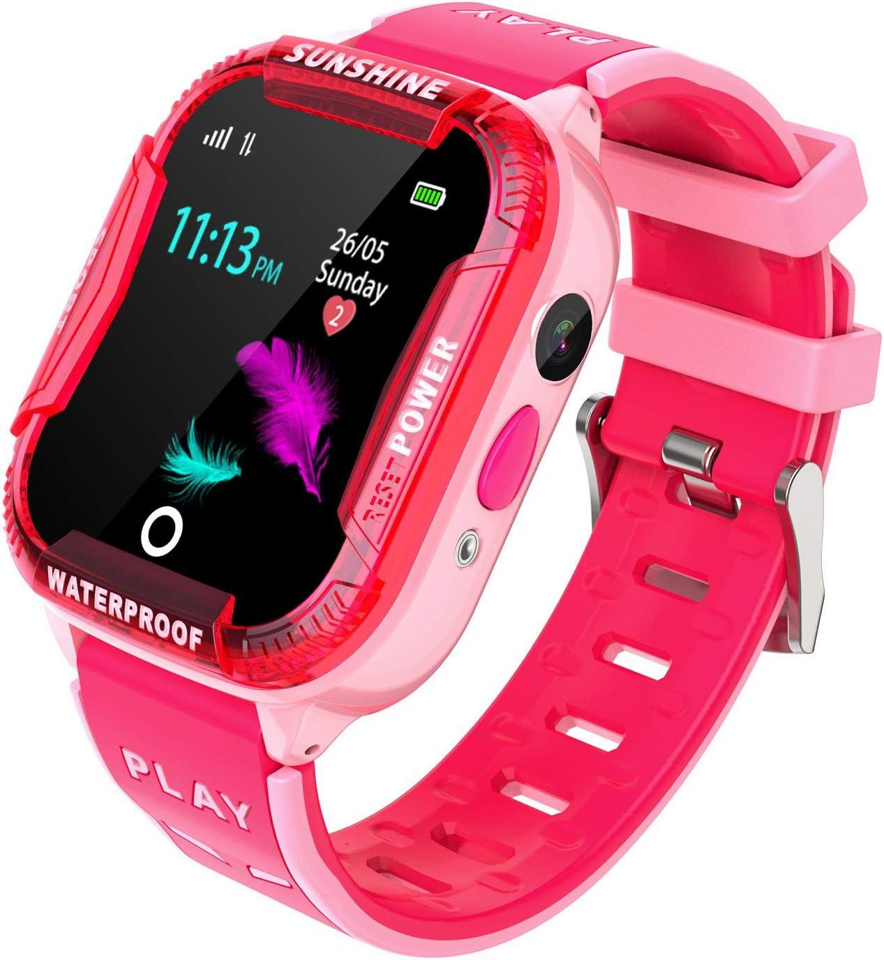 PTHTECHUS Reloj Inteligente Niña WiFi - Smartwatch Niños Reloj Niños Localizador, Reloj Inteligente Niño Niña Regalo, Reloj Niño con Llamada Telefónica SOS Juegos Despertador Tracker Podómetro