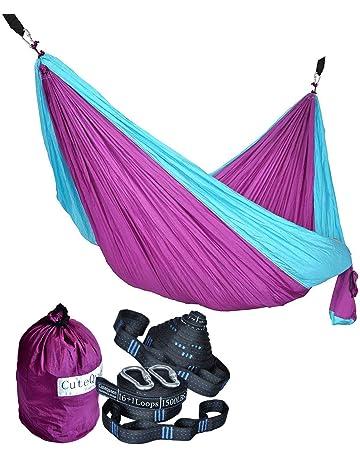 Cutequeen Purple/Sky Blue Hammock With Tree Straps Garden Outdoor Camping  Hammocks Nylon Lightweight Multifunctional