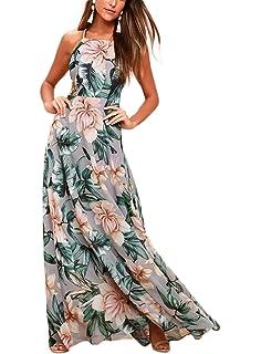 085db66f9c2 NERLEROLIAN Women s Sleeveless Halter Neck Sexy Floral Print Maxi Casual  Dress for Autumn