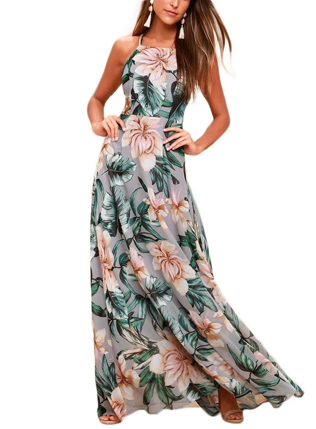 NERLEROLIAN Women's Sleeveless Halter Neck Sexy Floral Print Maxi Dress for Summer Graygreen-M