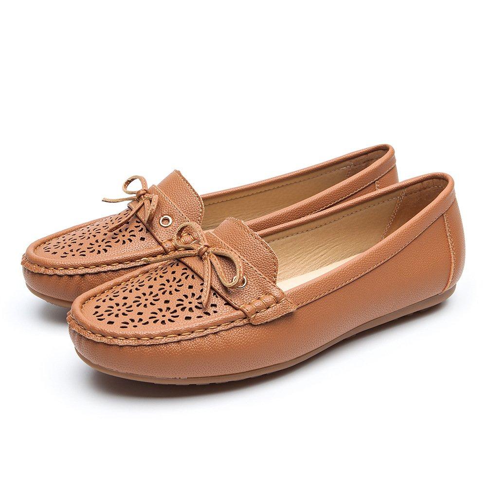 Nero Pelle Mocassini Scarpe per Donna - Cestfini Comode Flat Loafers Donna, la Scelta Migliore per Camminare, Scarpe con Zeppa Platform, per Tutte Le StagioniBrown3