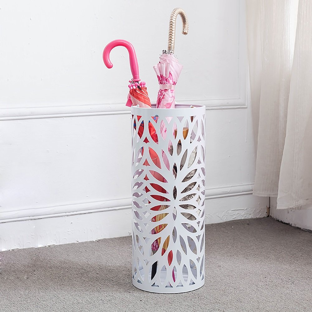 Umbrella Stands Wrought Iron Round Umbrella Bucket Carved Hotel Lobby Doorway Free Standing Holder For Canes/Walking Sticks, With Drip Tray/3 Hooks (Color : White)