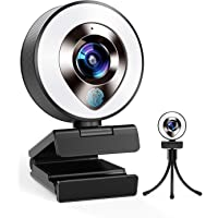 2021 CASECUBE FHD 1080P Webcam with Microphone and Ring Light, 3-Level Adjustable Brightness, Plug and Play Computer…