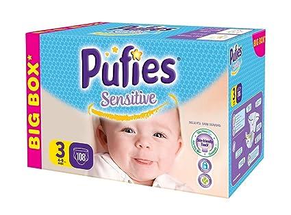 Pufies Sensitive Talla 3, 4-9 Kg - 108 Pañales