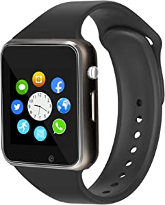 Smart Watch for Android iOS Phones Compatible with iPhone Samsung LG, WJPILIS Bluetooth Touch Screen Fitness Tracker Smartwatch with SIM SD Card Slot Camera Pedometer for Men Women Kids (Black)