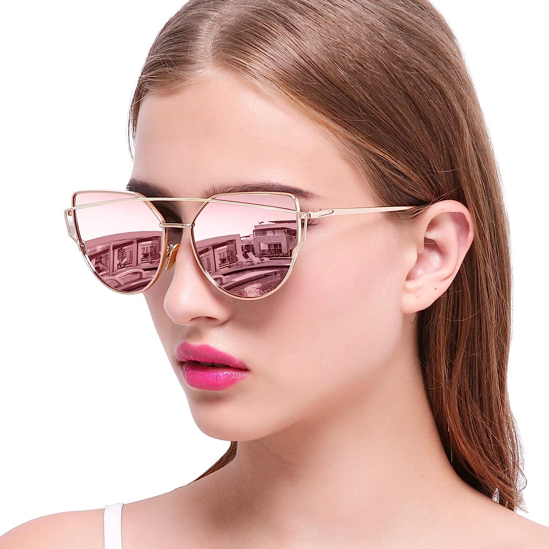 Joopin Retro Katzenaugen Sonnenbrille Damen Rosa - Cateye Sonnenbrille Metallrahmen Polarisiert UV400 Schutz: Amazon.de: Bekleidung -