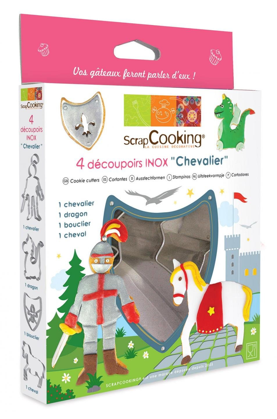 ScrapCooking Knight Cutters, Stainless Steel, Box of 4 by ScrapCooking