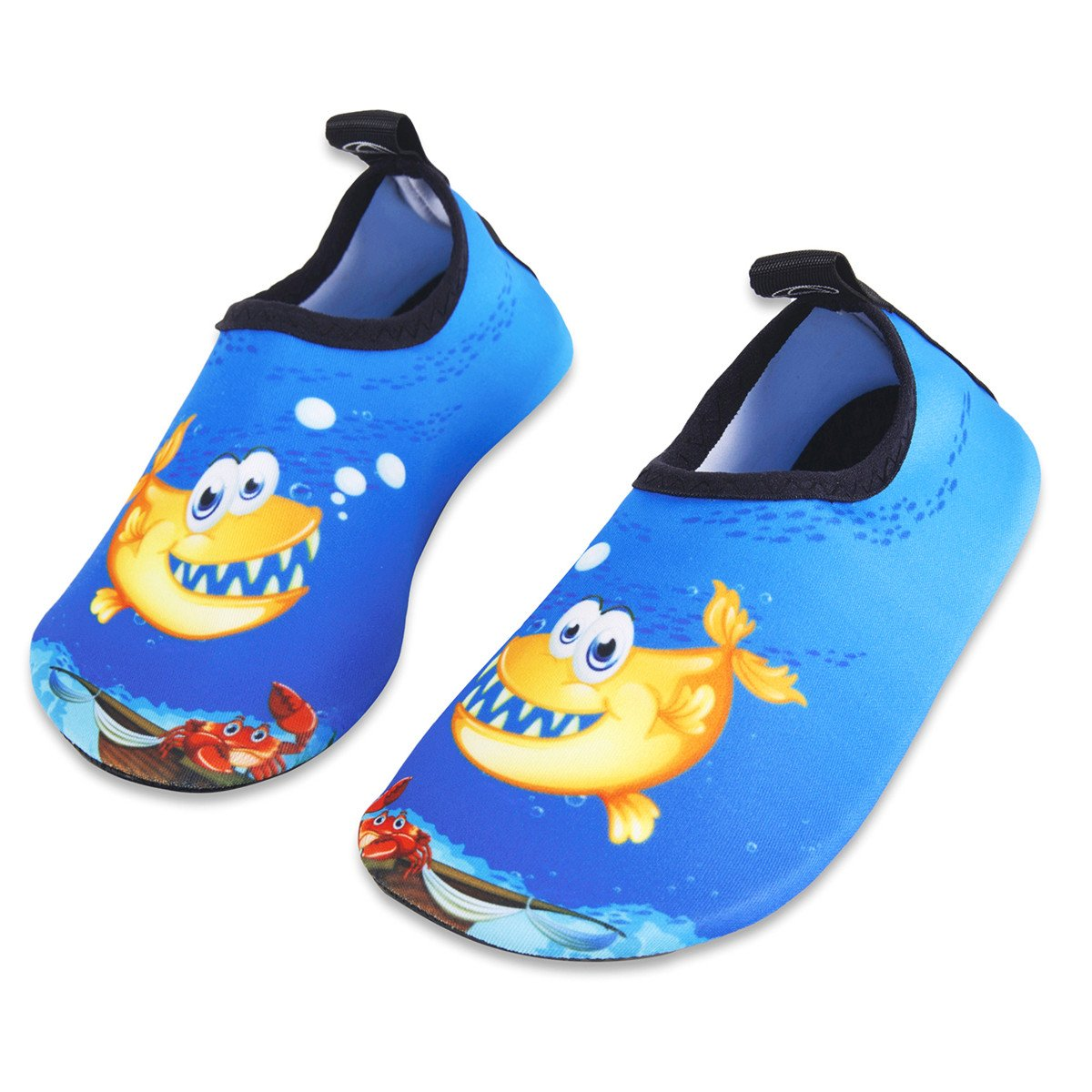 Kids Water Swim Shoes Barefoot Aqua Socks Shoes Quick Dry Non-Slip for Baby Boys & Girls (Bubble Fish, 24/25)
