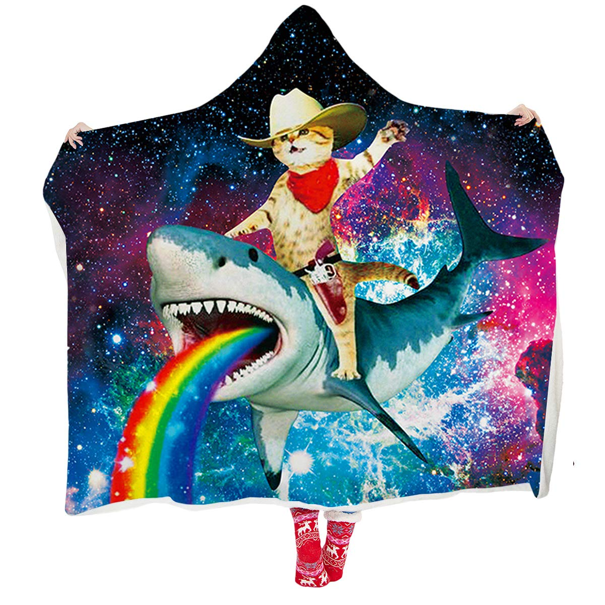 ALISISTER Hooded Blanket Adult Women Men 3D Galaxy Cat Shark Sherpa Plush Fleece Wearable Throw Blanket 60 X 80 Inches Home Sofa Winter Super Soft Lightweight for Bed Room Spring by ALISISTER