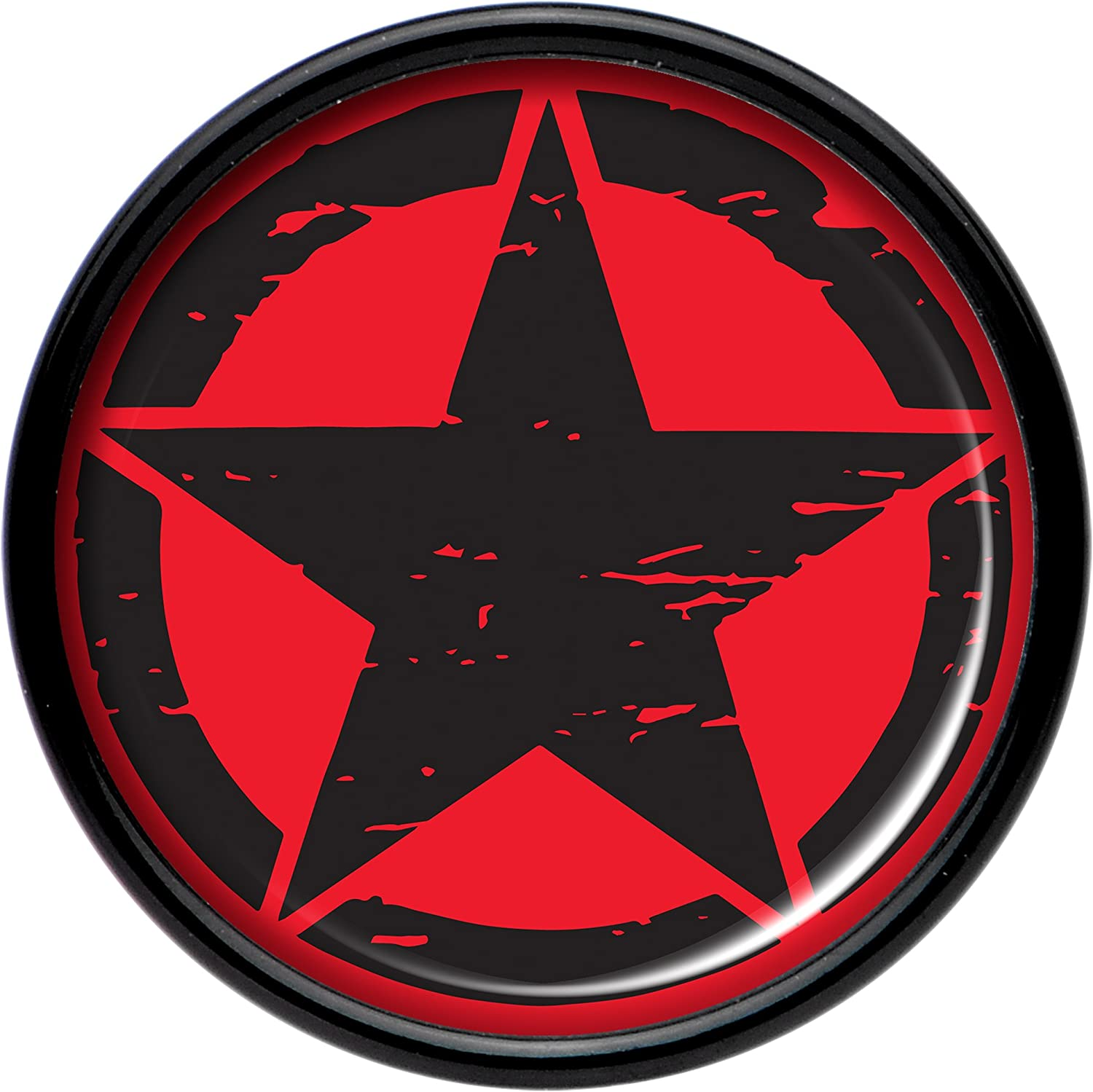 Body Candy Black Acrylic Black Red Distressed Star Saddle Plug Set of 2 5mm to 20mm