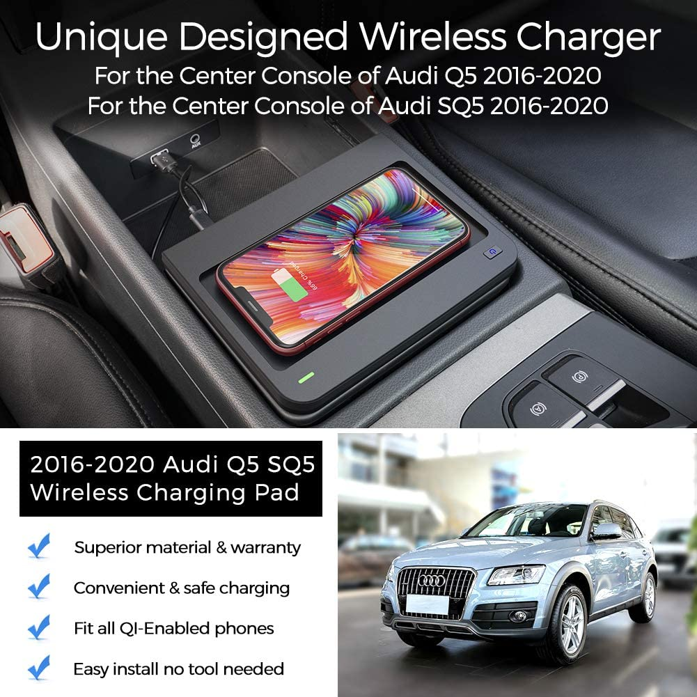 CarQiWireless Wireless Phone Charger Fast Charging for Audi Q5// SQ5 2016-2020 Center Console 3 Coils QI Phone Wireless Charging Pad Mat fit for Audi Q5 SQ5 2020 2019 2018 2017 2016 Accessories