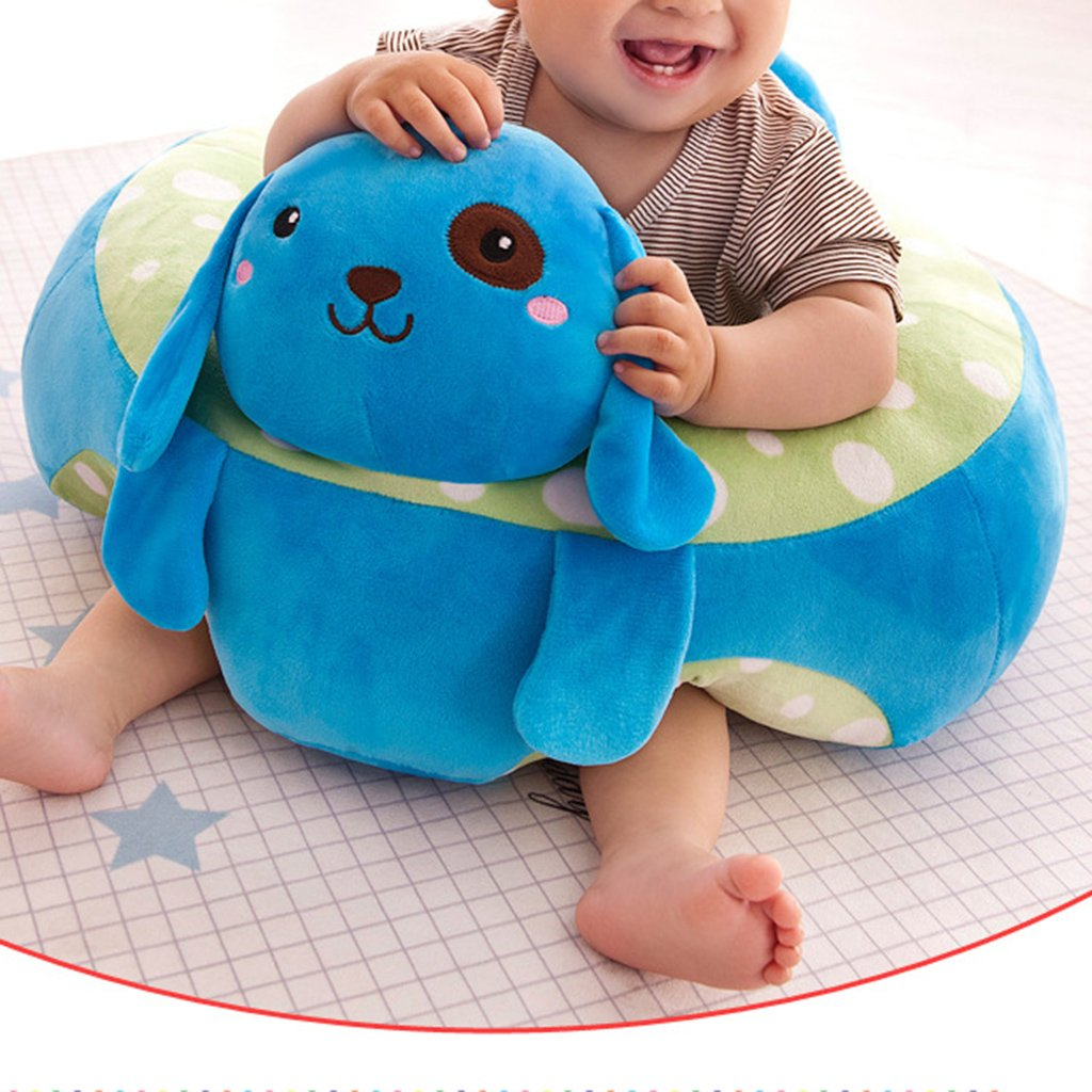 Green Infant Sitting Chair Premium Soft Plush Washable Baby Support Seat Suitable 3-10 Months 5 Colors Optional,40 x 40 cm
