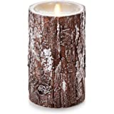 """Luminara Unscented Flameless Pillar Candle with REAL BARK 
