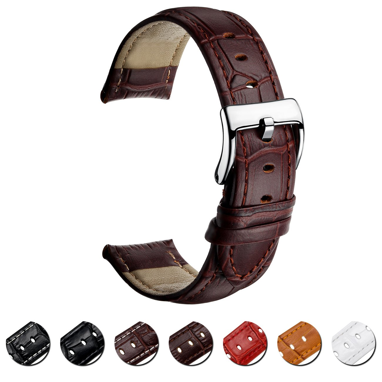 MEGALITH Leather Watch Band Top Calf Grain Genuine Leather Watch Strap 16mm 18mm 20mm 22mm Bands for Men and Women by MEGALITH (Image #10)