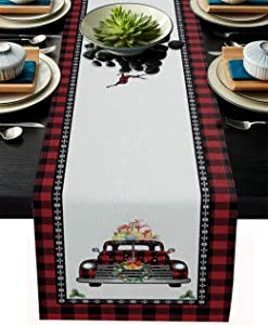 Christmas Red Truck Table Runner-Black Buffalo Plaid Check-Cotton Linen-Winter Dinner Scarf Décor,Long 108 Inch Holiday Xmas deer Dresser Scarves,Farmhouse Coffee/Dining home Living Room Tablerunner