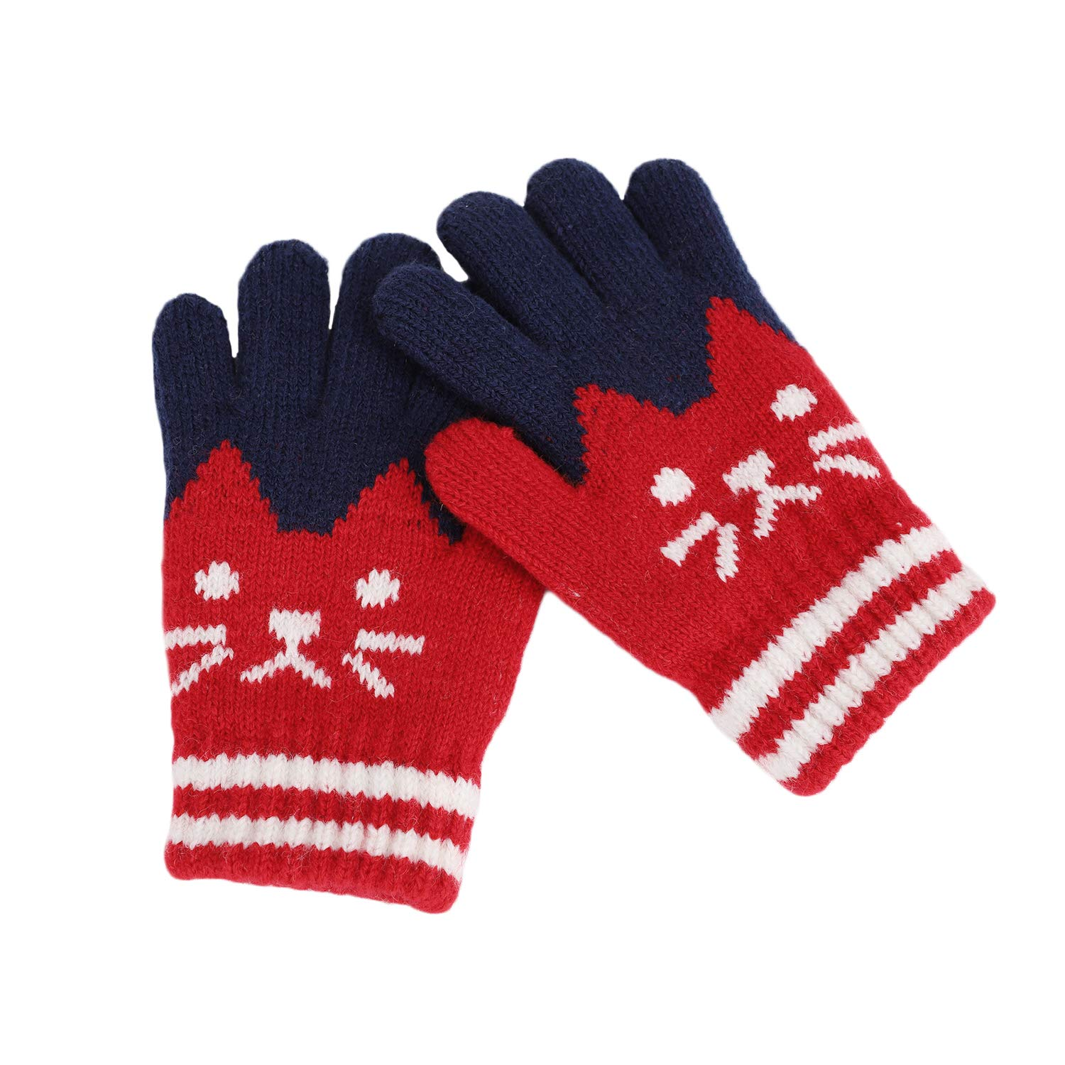 Toddler Kids Winter Warm Thick Full Finger Gloves Children Boys Girls Cute Cartoon Cat Magic Ski Gloves Outdoor Cycling Wool Knitted Thermal Gloves Mittens