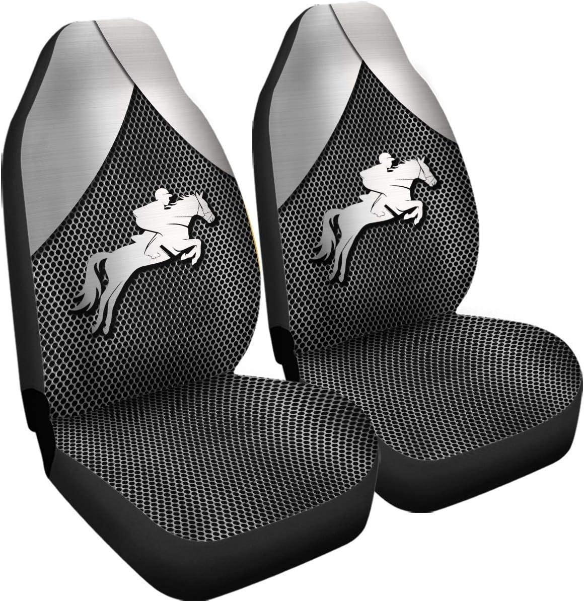 Drew Tours Horse Rider Montar a Caballo Fundas de Asiento compatibles con airbag de Metal Plateado 3D Accesorios de automóvil Tamaño Universal Ajuste para la mayoría de los automóviles SUV Camión