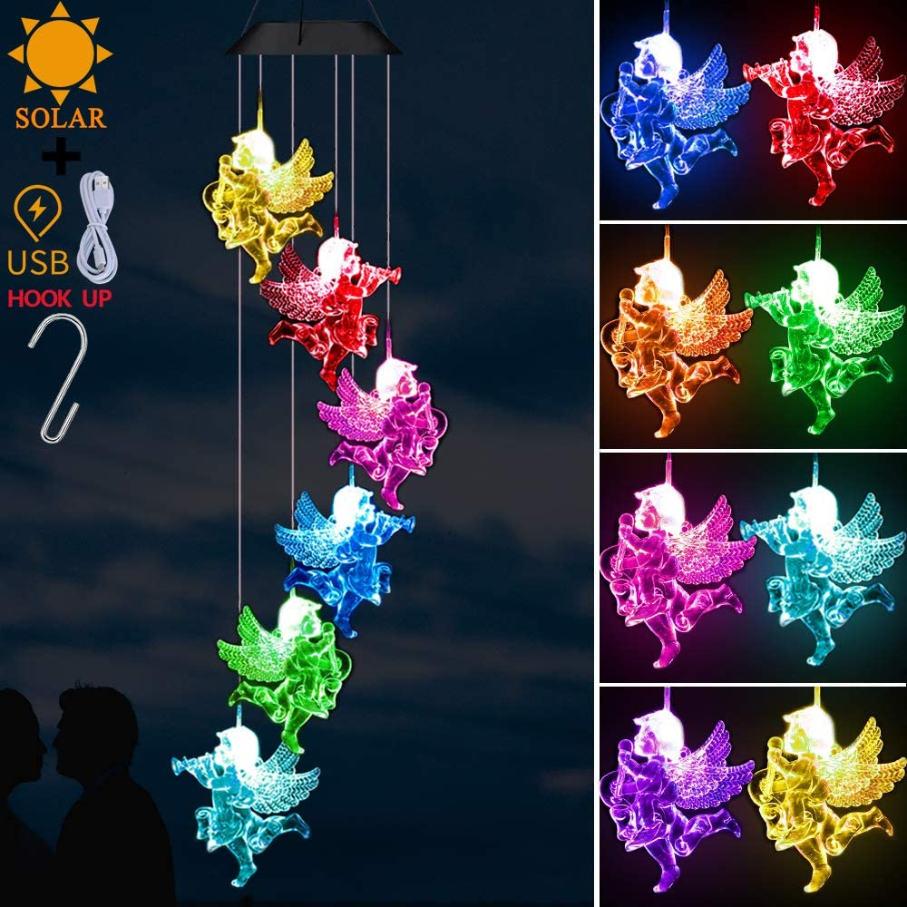 Solar Angel Wind Chimes Light Outdoor Decor- Solar Powered Angel Wind Chime, Changing Color LED Angel Solar Lights, Xmas Gifts for Mom,Home,Patio,Yard,Festival,Garden Decoration(Solar & USB Charging)