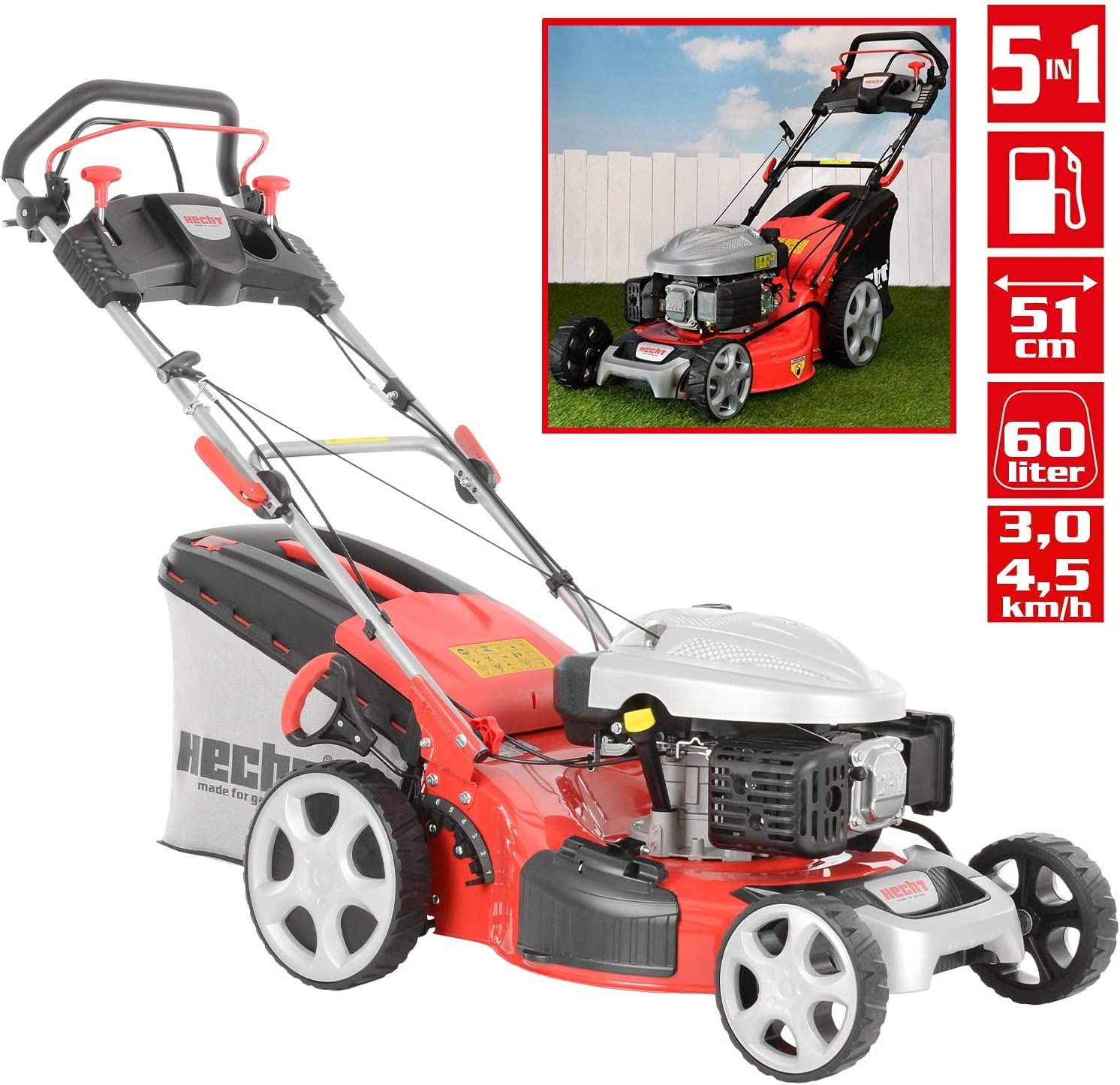 HECHT 5534 SX 5 in 1 Walk behind lawn mower Gasolina - Cortacésped ...