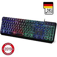 KLIM™ Chroma Gaming Tastatur - Gamer Keyboard LED Beleuchtete QWERTZ DEUTSCH mit USB Kabel - Hohe Leistung - Bunte Beleuchtung RGB - PC, Laptop, PS4, Xbox One X - 2019 Version - Schwarz