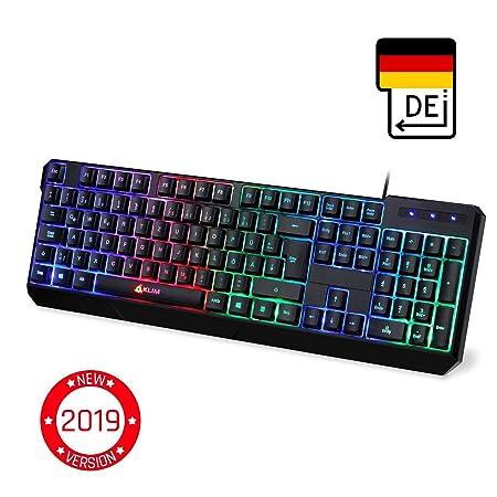 KLIM™ Chroma Gaming Tastatur - Gamer Keyboard LED Beleuchtete QWERTZ DEUTSCH mit USB Kabel - Hohe Leistung - Bunte Beleuchtun