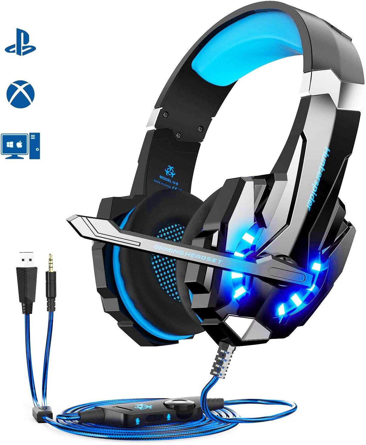 Igrome - Auriculares de Diadema para Videojuegos con micrófono, Sonido estéreo bajo Envolvente, luz LED, Color Azul