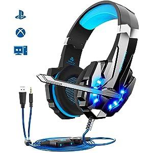 Cuffie da Gioco per PS4 Cuffie Gaming con 3.5mm Jack LED Cuffie da Gaming con Microfono Bass Stereo e Controllo Volume Gaming Headset per PS4/Xbox One X /S/Nintendo Switch/PC/Laptop/Tablet